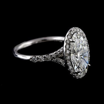 2CT 2520Oval 2520Forever 2520Brilliant 2520Moissanite 252014K 2520White 2520Gold 2520Cut 2520Down 2520Micropave 2520Halo 2520Split 2520Shank 2520Diamond 2520Engagement 2520Ring 25203